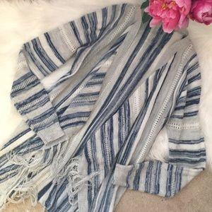 Sweaters - Boho grey blue stripe fringe cardigan sweater